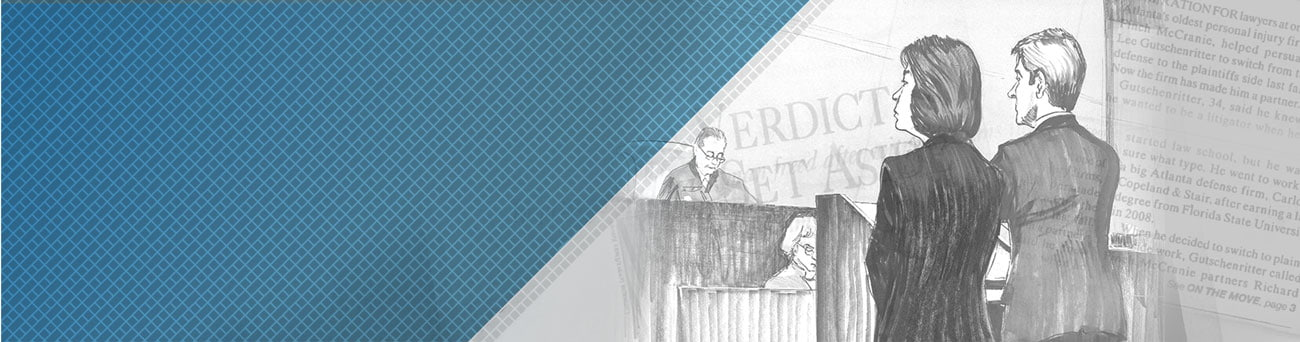 Courtroom sketch and newspaper text
